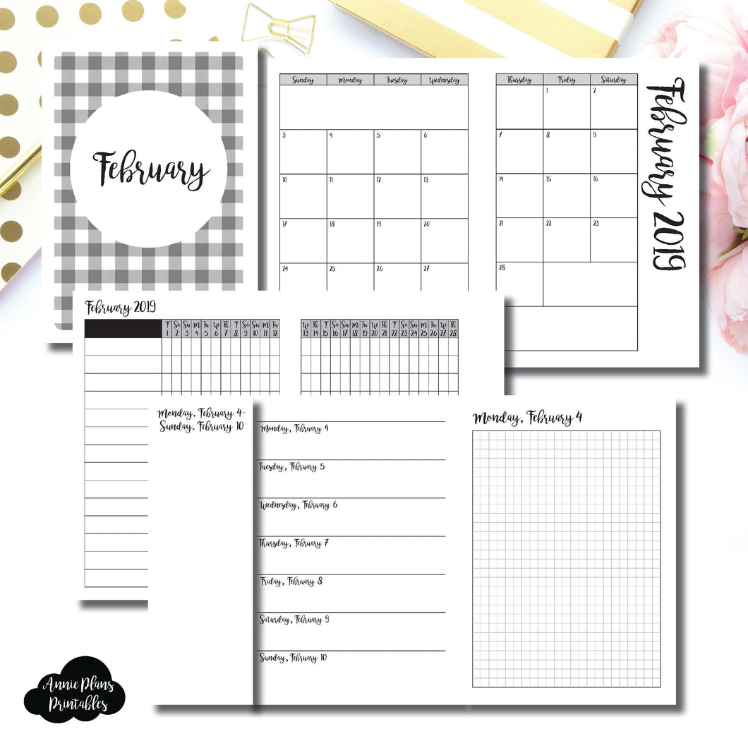 A6 TN Size | FEB 2019 | Month/Weekly/Daily GRID (Monday Start) Printable Insert ©