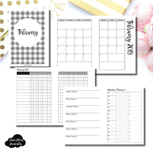 Personal Wide Rings Size | FEB 2019 | Month/Weekly/Daily 3 COLUMN TIMED (Monday Start) Printable Insert ©