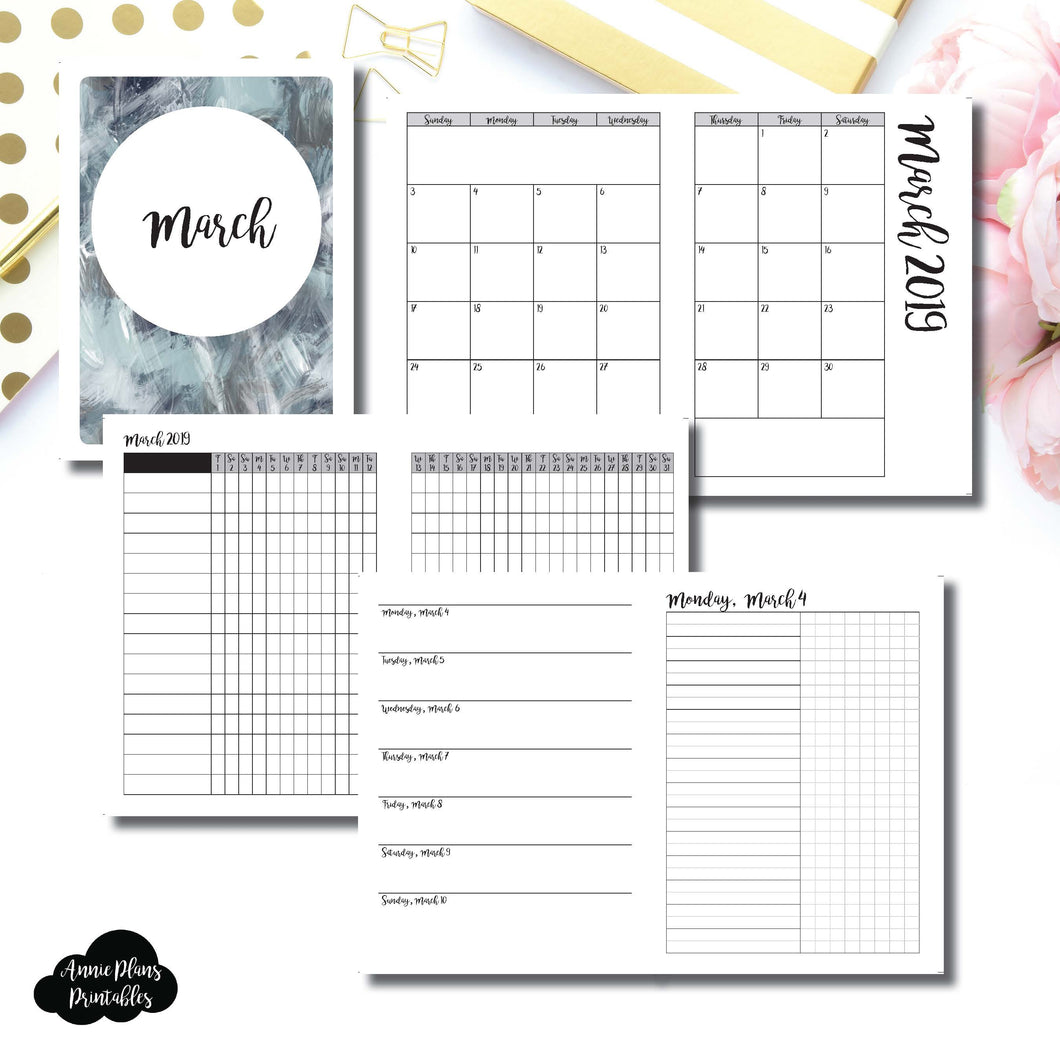 B6 TN Size | MAR 2019 | Month/Weekly/Daily UNTIMED (Monday Start) Printable Insert ©