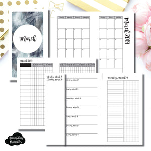 Personal Rings Size | MAR 2019 | Month/Weekly/Daily UNTIMED (Monday Start) Printable Insert ©