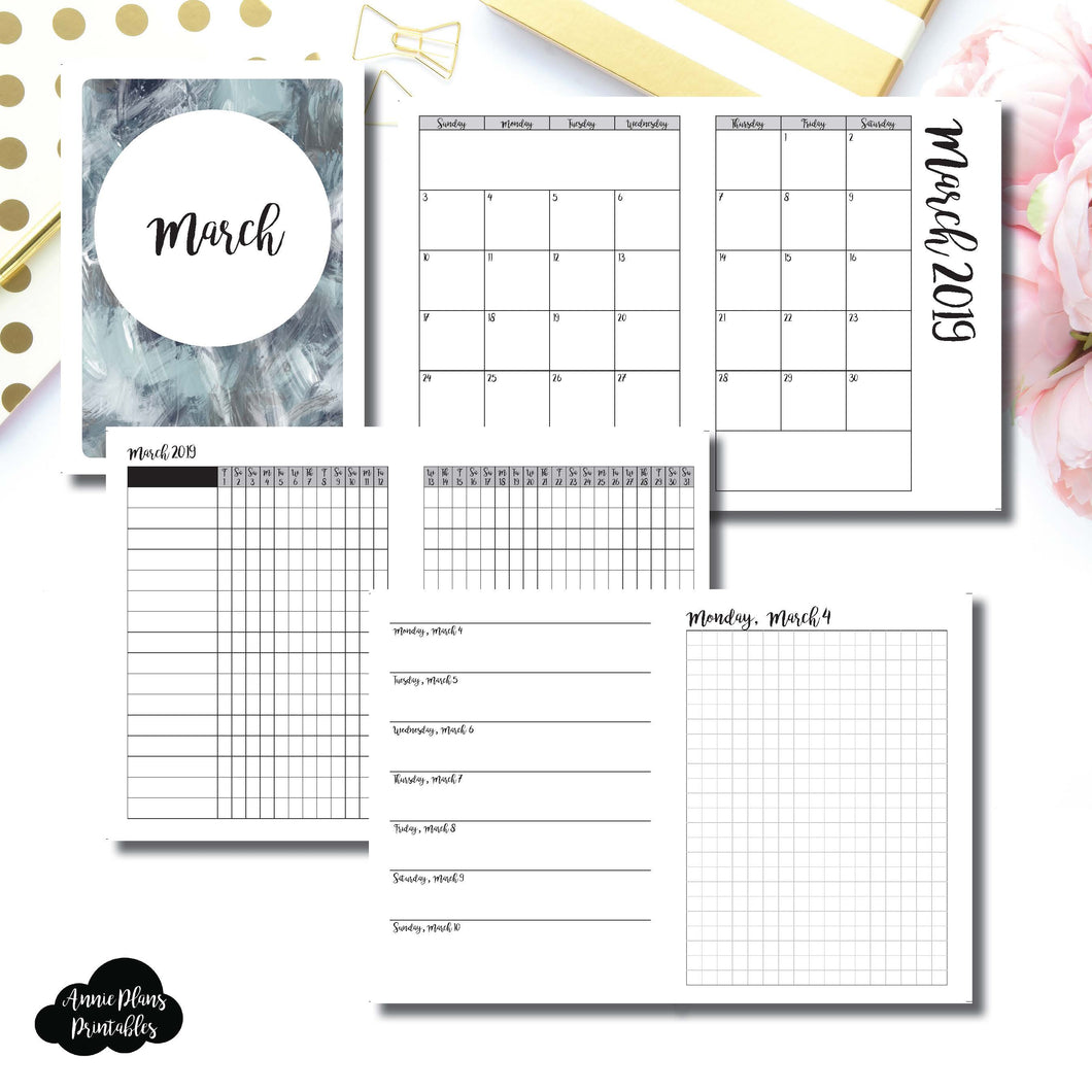 B6 TN Size | MAR 2019 | Month/Weekly/Daily GRID (Monday Start) Printable Insert ©
