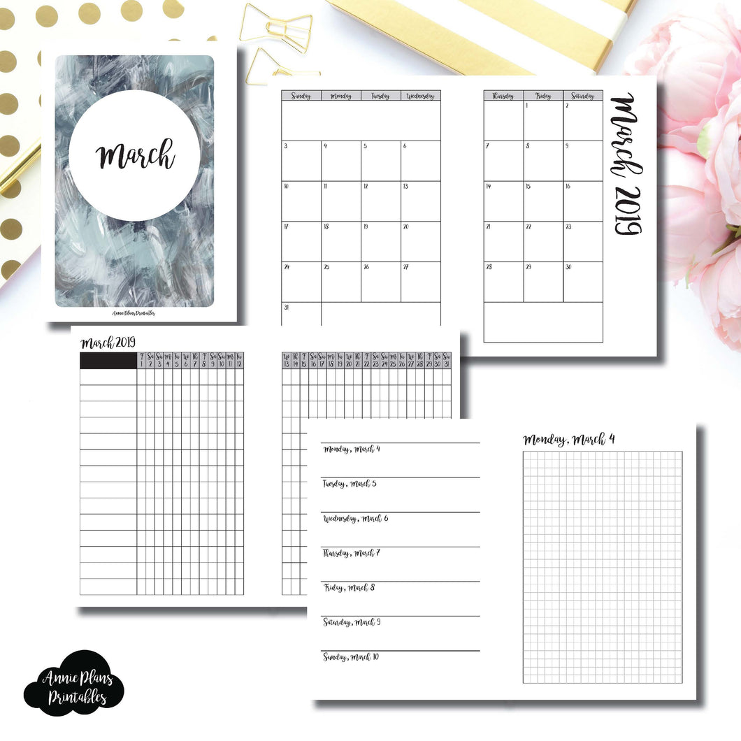 A6 Rings Size | MAR 2019 | Month/Weekly/Daily GRID (Monday Start) Printable Insert ©