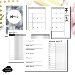 Pocket Rings Size | MAR 2019 | Month/Weekly/Daily TIMED (Monday Start) Printable Insert ©