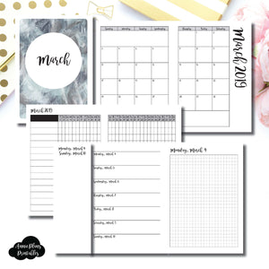 A6 TN Size | MAR 2019 | Month/Weekly/Daily GRID (Monday Start) Printable Insert ©