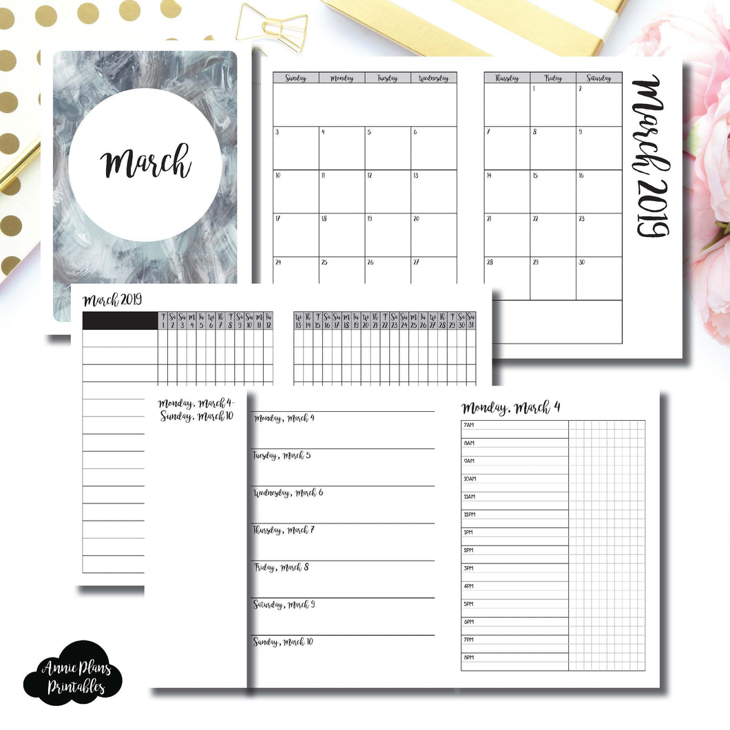 A6 TN Size | MAR 2019 | Month/Weekly/Daily TIMED (Monday Start) Printable Insert ©
