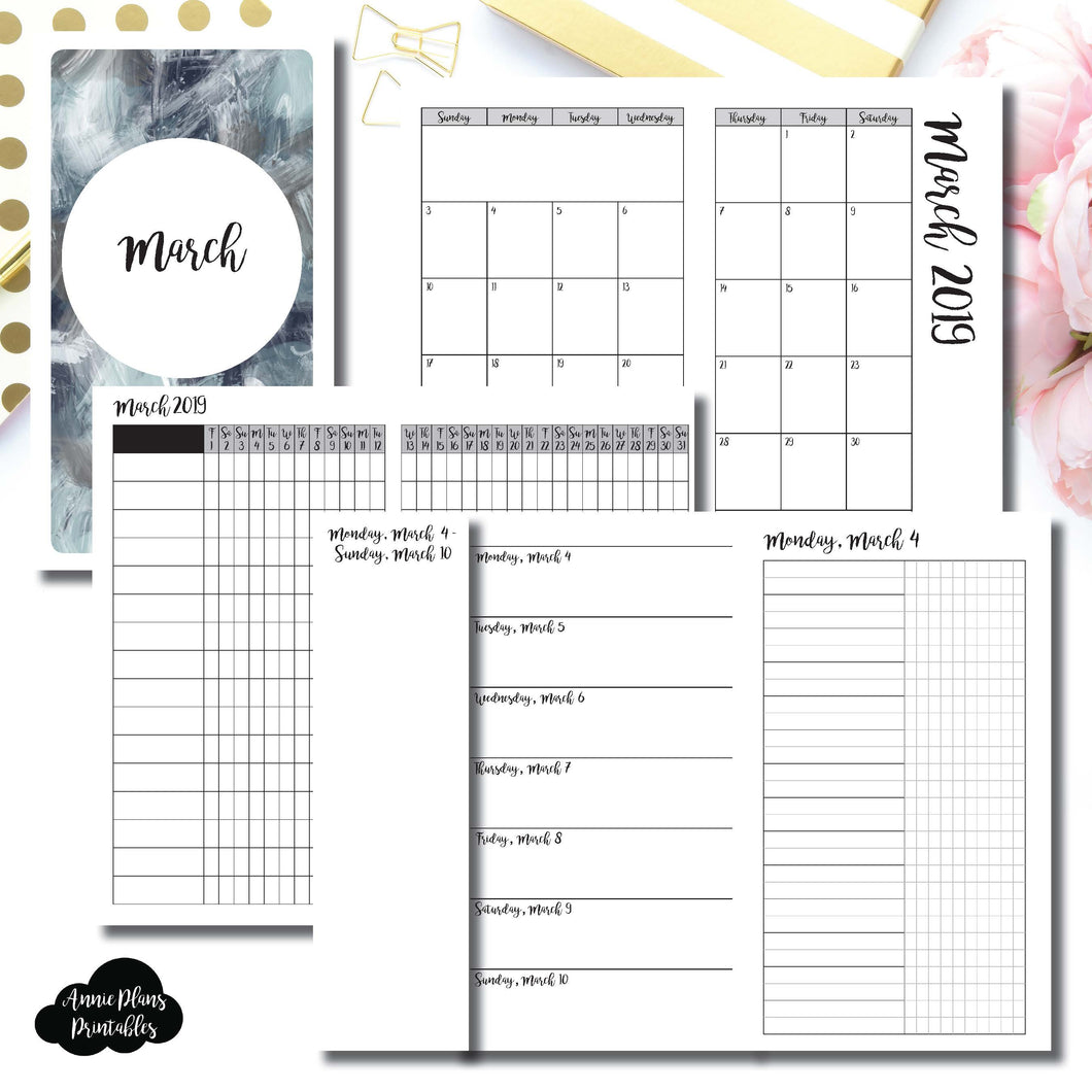 Personal TN Size | MAR 2019 | Month/Weekly/Daily UNTIMED (Monday Start) Printable Insert ©