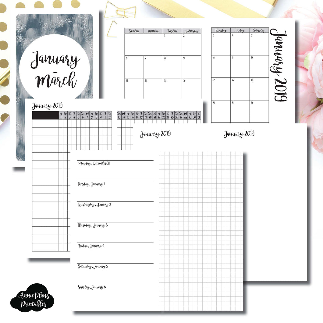 Personal TN Size | JAN - MAR 2019 | Horizontal Week on 1 Page + GRID (Monday Start) Printable Insert ©
