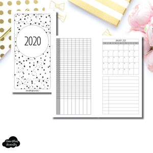 Personal Rings Size | 2020 Single Page Monthly + Tracker Printable Insert ©