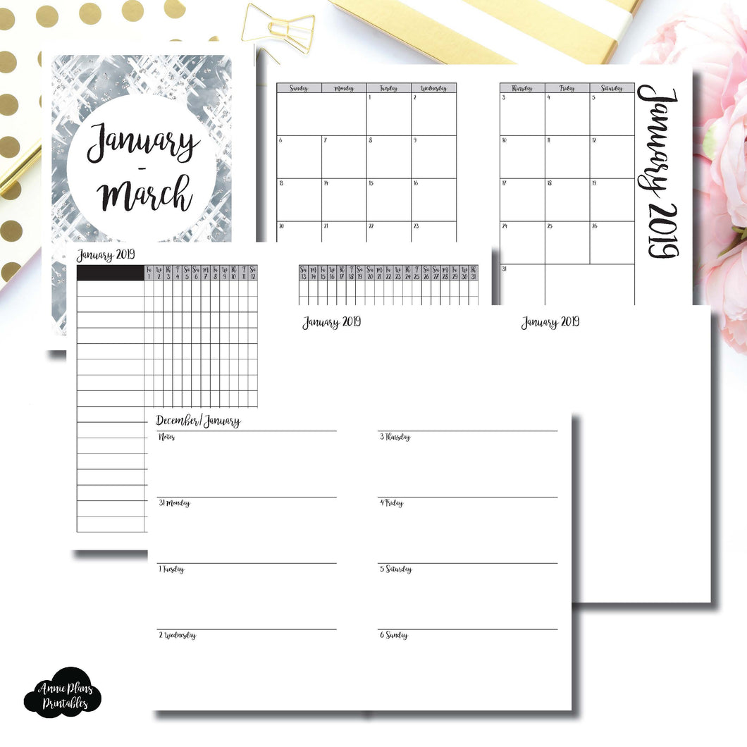 Personal Wide Rings Size | JAN - MAR 2019 | Horizontal Week on 2 Page (Monday Start) Printable Insert ©
