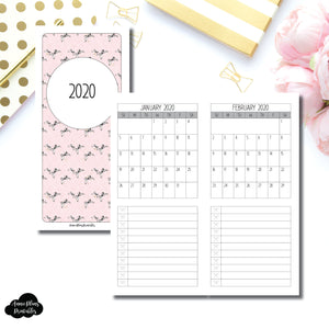 H Weeks Size | 2020 Single Page Monthly Printable Insert ©