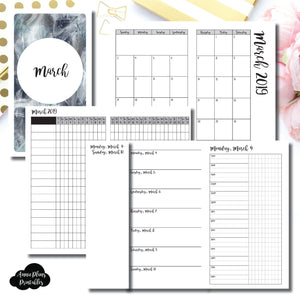 Personal TN Size | MAR 2019 | Month/Weekly/Daily TIMED (Monday Start) Printable Insert ©