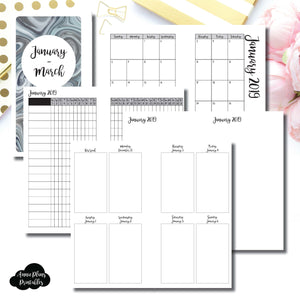 Personal Rings Size | JAN - MAR 2019 | Vertical Week on 2 Page (Monday Start) Printable Insert ©