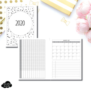 B6 Rings Size | 2020 Single Page Monthly + Tracker Printable Insert ©