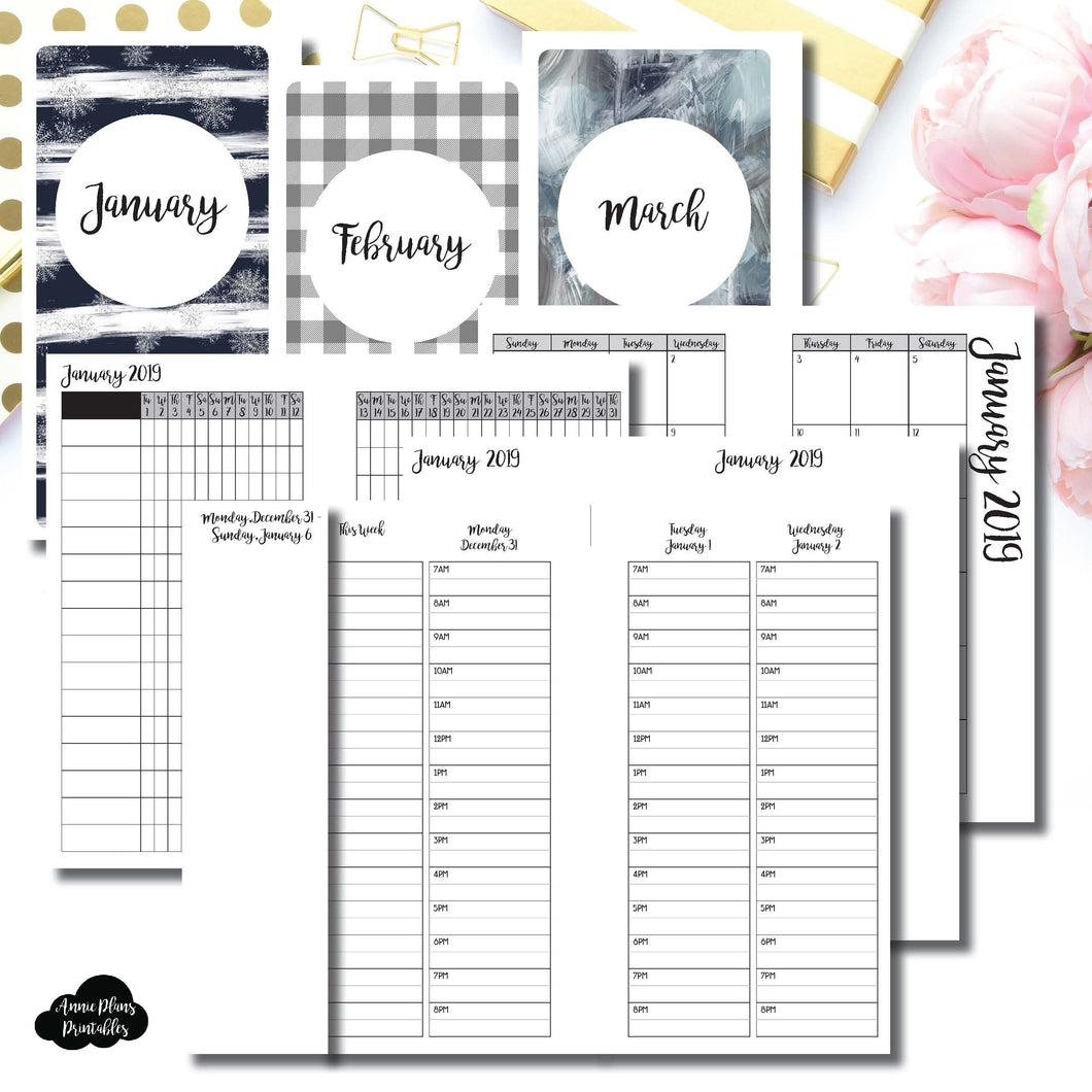 Personal TN Size | JAN - MAR 2019 | Week on 4 Pages (Monday Start) TIMED Vertical Layout | Printable Insert ©