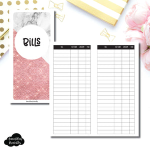 H Weeks Size | Basic Bill Tracker Printable Insert ©