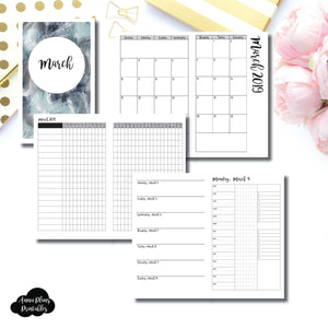 Cahier TN Size | MAR 2019 | Month/Weekly/Daily 3 COLUMN TIMED (Monday Start) Printable Insert ©