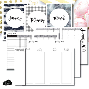 A6 TN Size | JAN - MAR 2019 | Week on 4 Pages (Monday Start) Vertical Layout | Printable Insert ©