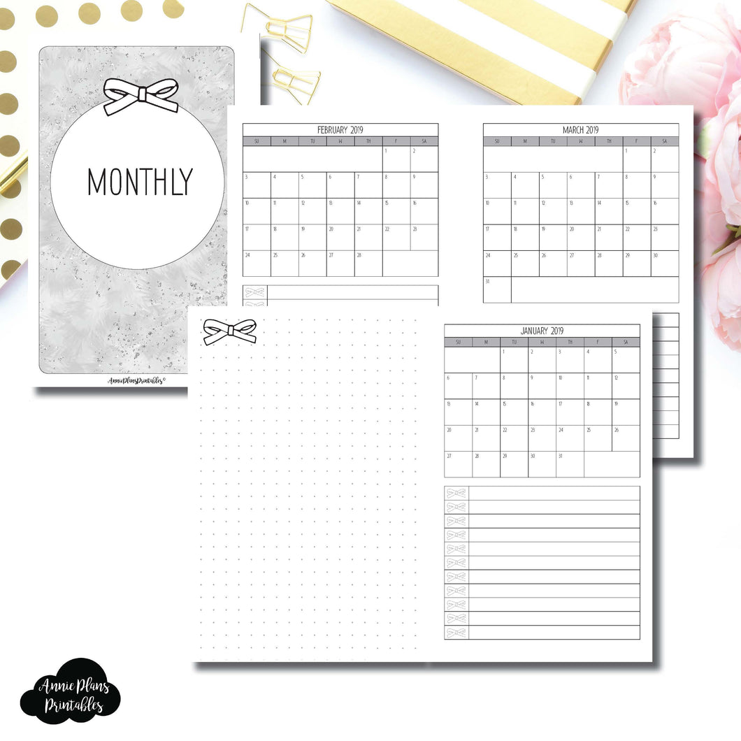B6 Slim TN Size | 2019 Single Page Monthly Printable Insert ©