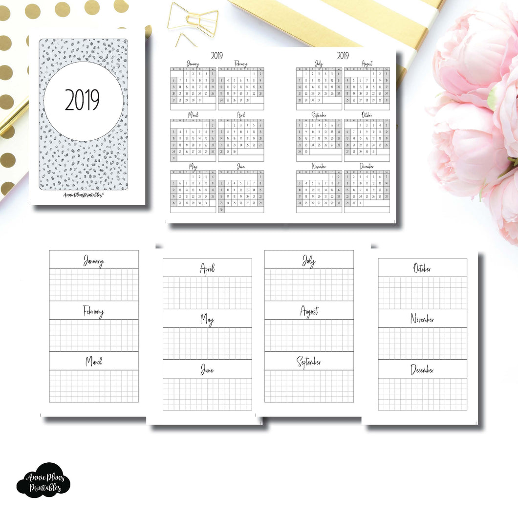Pocket Rings Size | 2019 Year at a Glance on 2 Pages Printable Insert ©