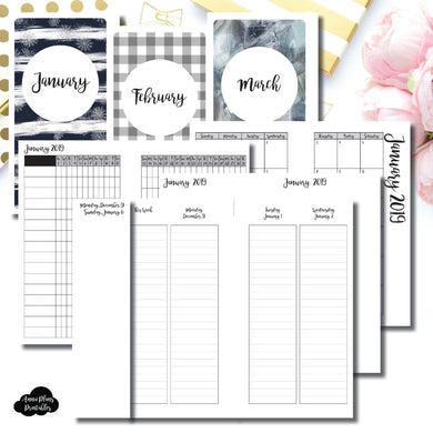 Personal TN Size | JAN - MAR 2019 | Week on 4 Pages (Monday Start) LINED Vertical Layout | Printable Insert ©