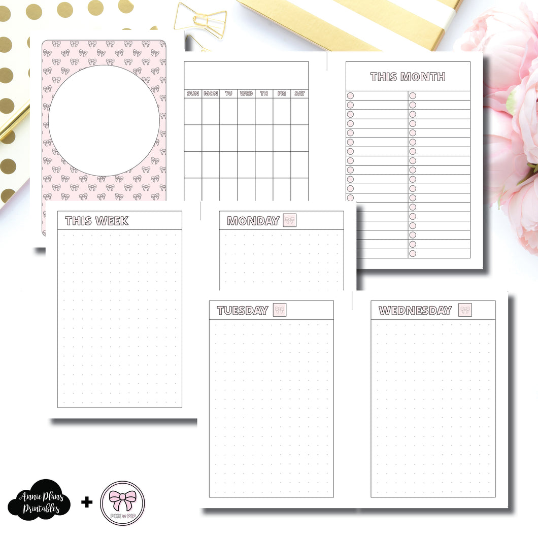 A5 Wide Rings Size | Fox & Pip Undated Daily Dot Grid Collaboration Printable Insert ©