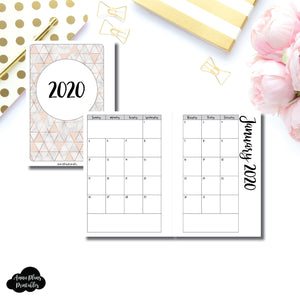 Personal Wide Rings Size | 2020 Monthly Calendar (SUNDAY Start) PRINTABLE INSERT ©