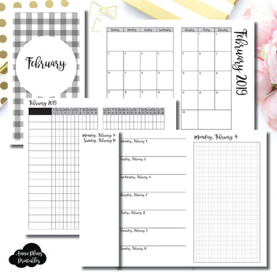 Personal TN Size | FEB 2019 | Month/Weekly/Daily GRID (Monday Start) Printable Insert ©