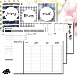Pocket TN Size | JAN - MAR 2019 | Week on 4 Pages (Monday Start) LINED Vertical Layout | Printable Insert ©