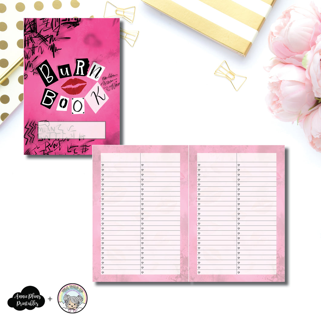 A5 Rings Size | Limited Edition Burn Book List Collaboration with WilaWaloCo Printable Insert ©