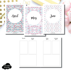 A6 Rings Size | APR - JUN 2019 Basic Vertical Week on 4 Page (Monday Start) Layout Printable Insert ©