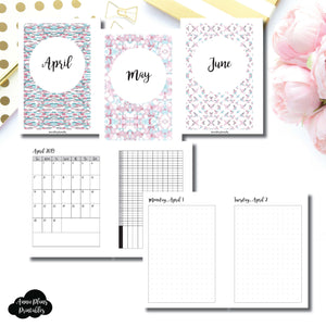 A6 Rings Size | 2019 APR - JUN | FULL Month Daily (DOT GRID) | Printable Insert ©