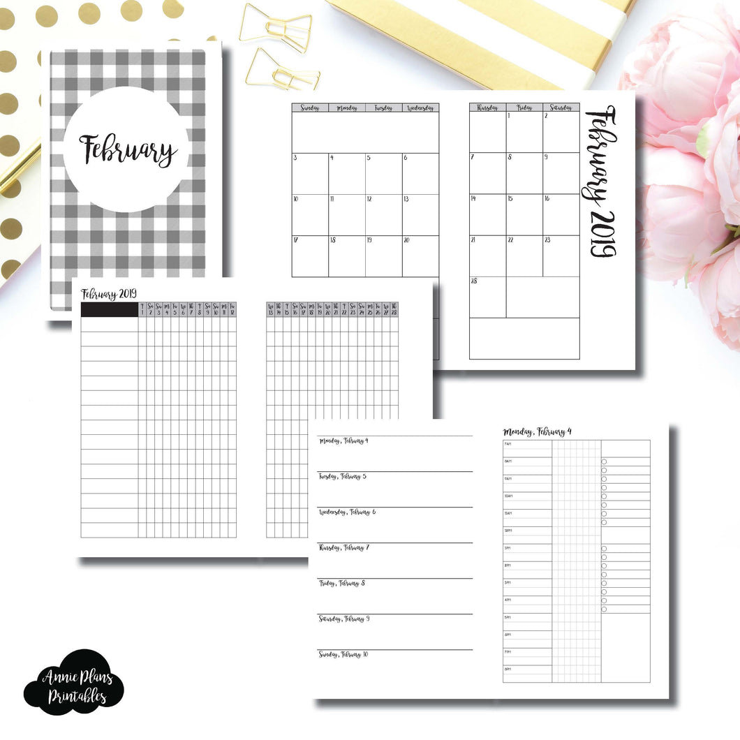 Half Letter Rings Size | FEB 2019 | Month/Weekly/Daily 3 COLUMN TIMED (Monday Start) Printable Insert ©