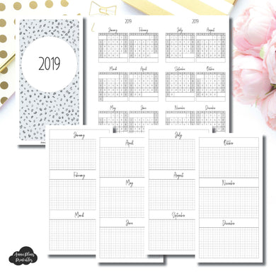 Standard TN Size | 2019 Year at a Glance on 2 Pages Printable Insert ©