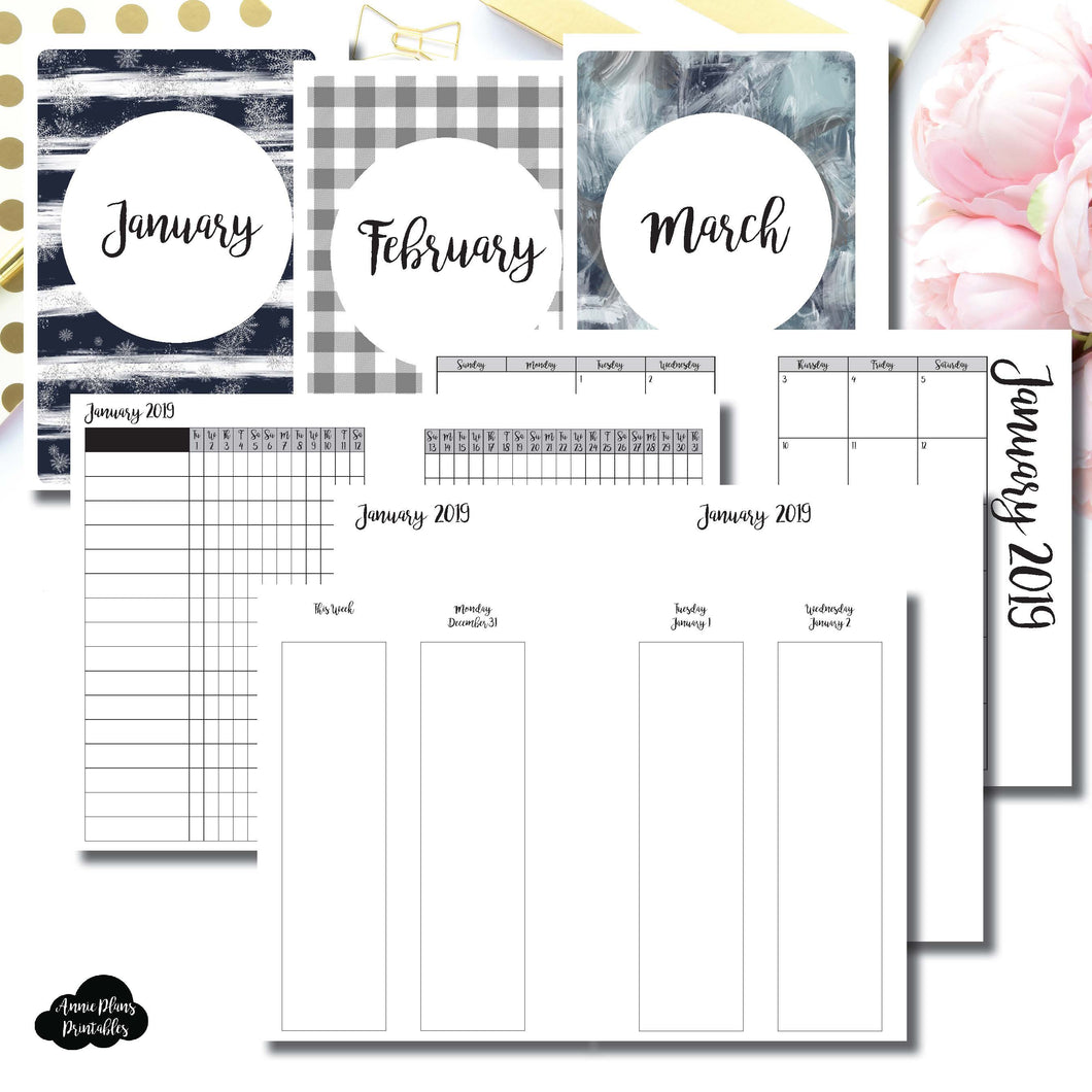 Personal Wide Rings Size | JAN - MAR 2019 | Week on 4 Pages (Monday Start) Vertical Layout | Printable Insert ©