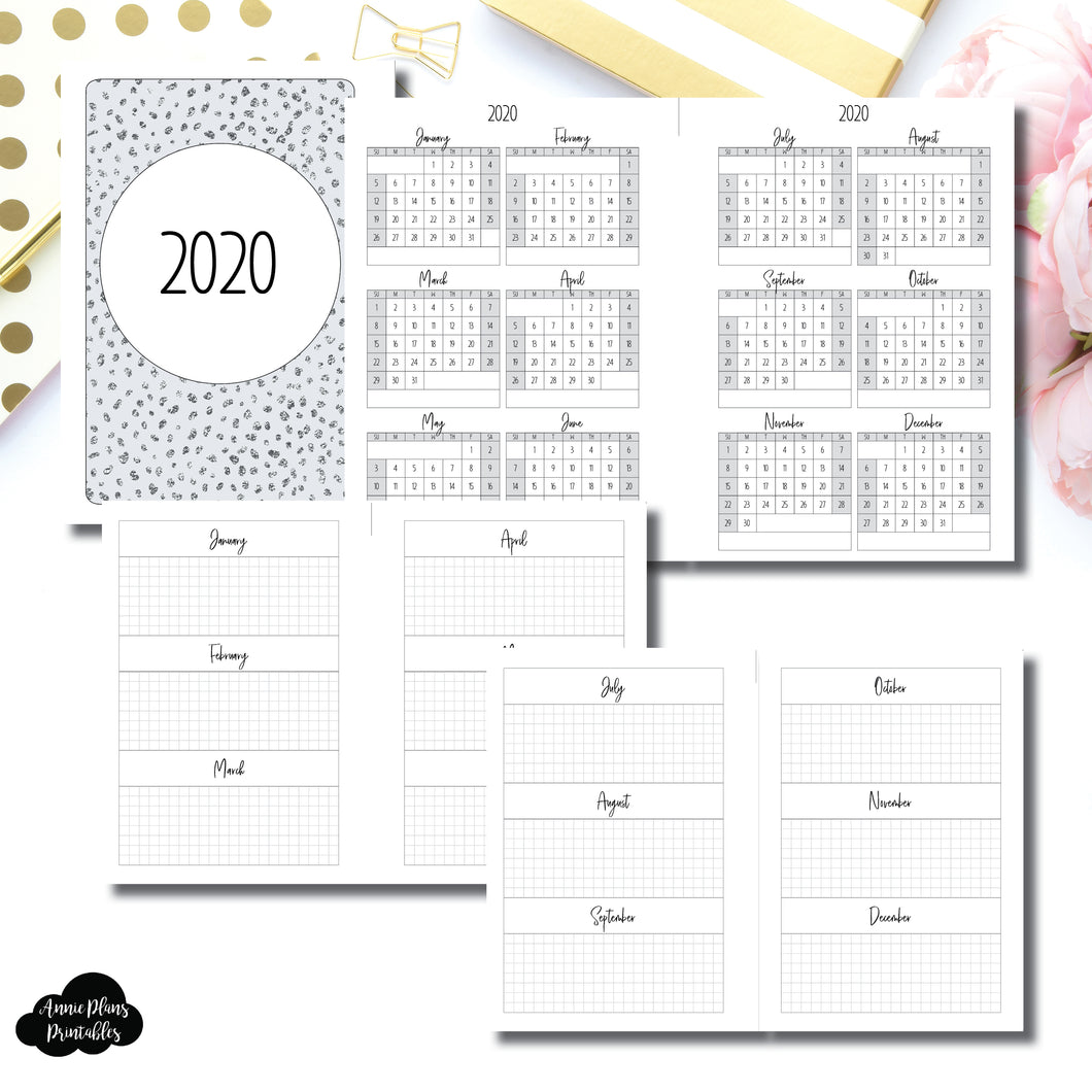 B6 Rings Size | 2020 Year at a Glance on 2 Pages Printable Insert ©