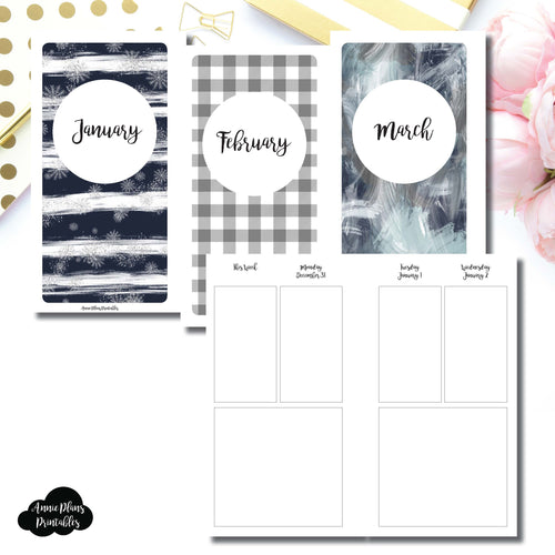 Personal Rings Size | JAN - MAR 2019 Basic Vertical Week on 4 Page (Monday Start) Layout Printable Insert ©