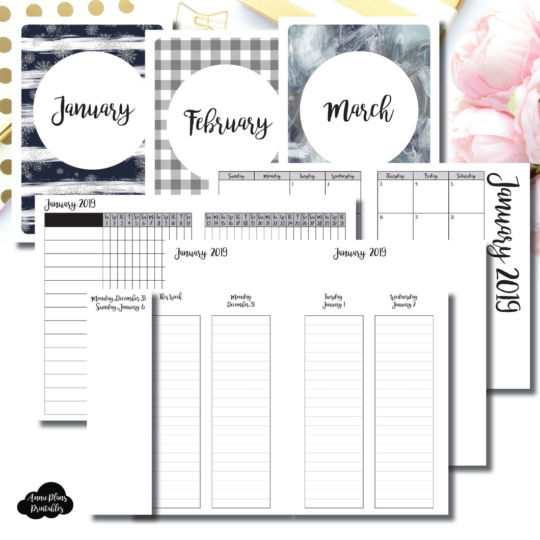 A6 TN Size | JAN - MAR 2019 | Week on 4 Pages (Monday Start) LINED Vertical Layout | Printable Insert ©