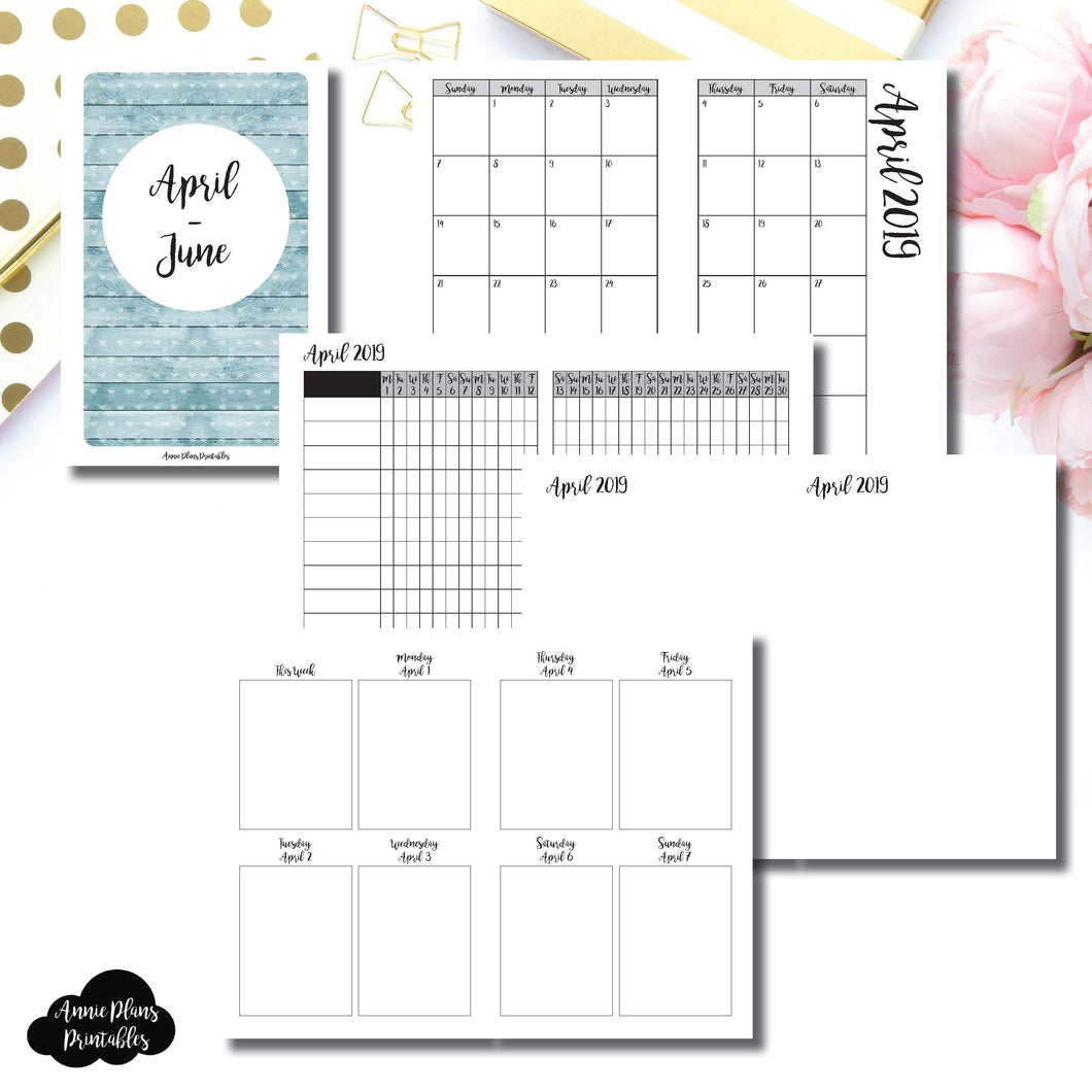Pocket TN Size | APR - JUN  2019 | Vertical Week on 2 Page (Monday Start) Printable Insert ©