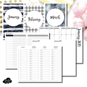 Cahier TN Size | JAN - MAR 2019 | Week on 4 Pages (Monday Start) TIMED Vertical Layout | Printable Insert ©