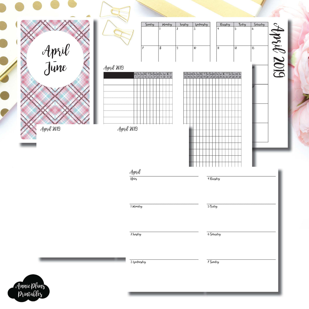 Half Letter Rings Size | APR - JUN 2019 | Horizontal Week on 2 Page (Monday Start) Printable Insert ©