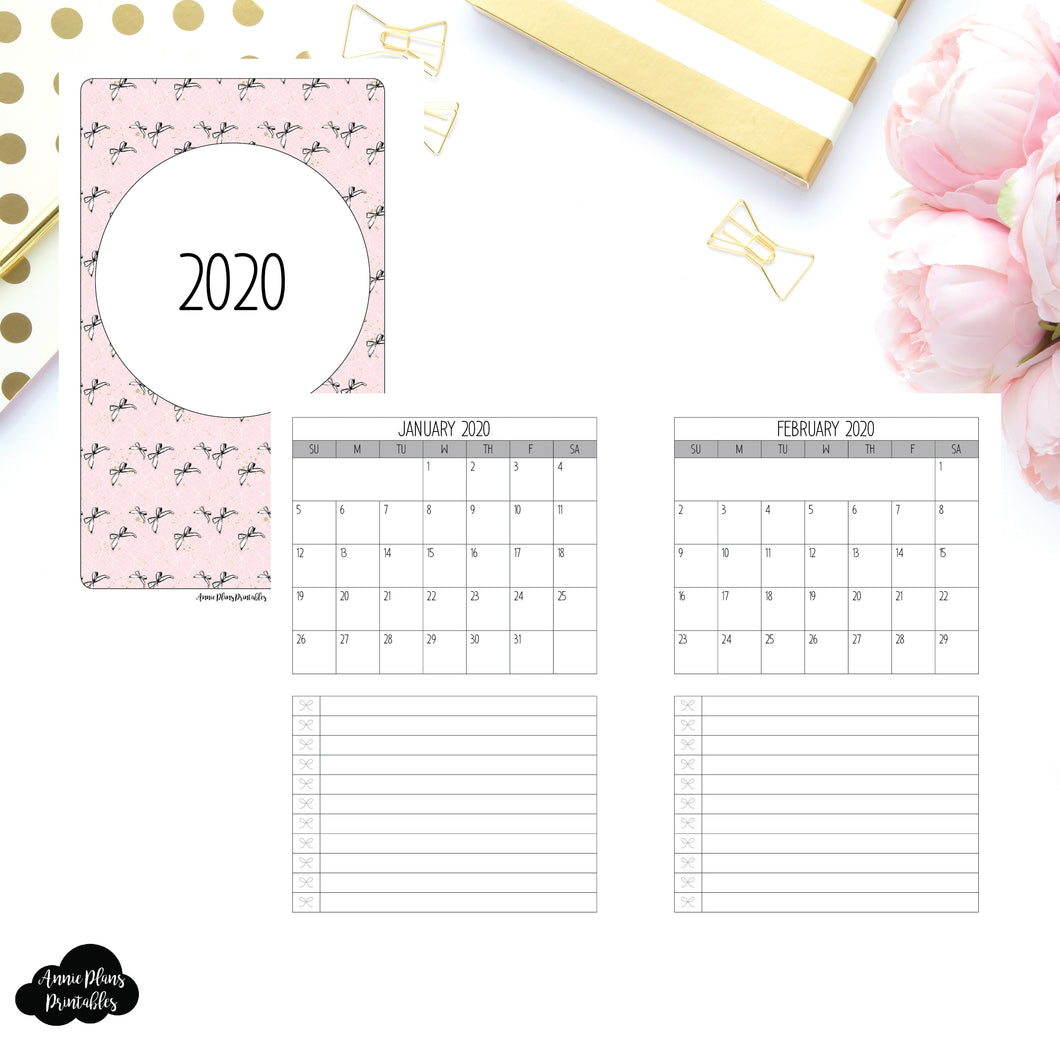 Mini HP Size | 2020 Single Page Monthly Printable Insert ©
