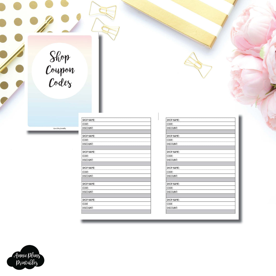 B6 Rings Size | Shop Coupon Code Tracker Printable Insert ©