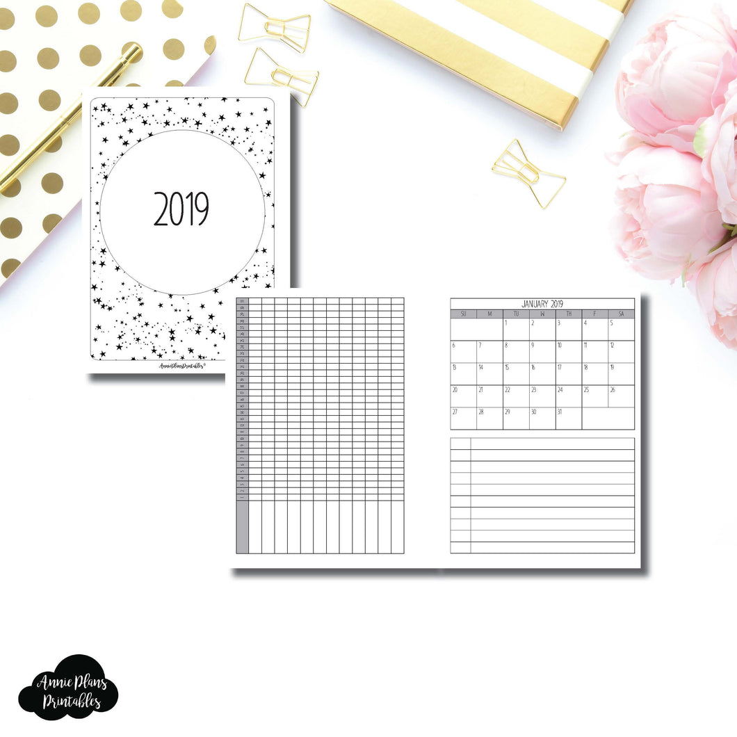 B6 Rings Size | 2019 Monthly Important Dates with Tracker Printable Insert ©