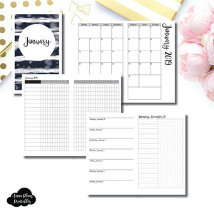 Cahier TN Size | JAN 2019 | Month/Weekly/Daily UNTIMED (Monday Start) Printable Insert ©