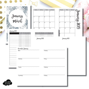 Mini HP Size | JAN - MAR 2019 | Horizontal Week on 2 Page (Monday Start) Printable Insert ©