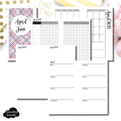 Personal Rings Size | APR - JUN 2019 | Horizontal Week on 2 Page (Monday Start) Printable Insert ©