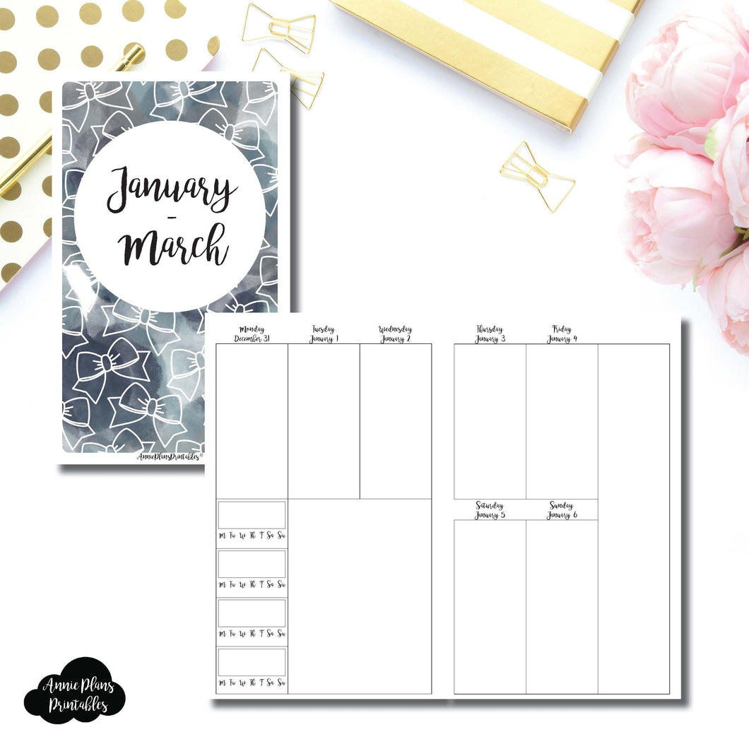 Cahier TN Size | JAN - MAR 2019 | BASIC Vertical Week on 2 Page (Monday Start) With Trackers Printable Insert ©