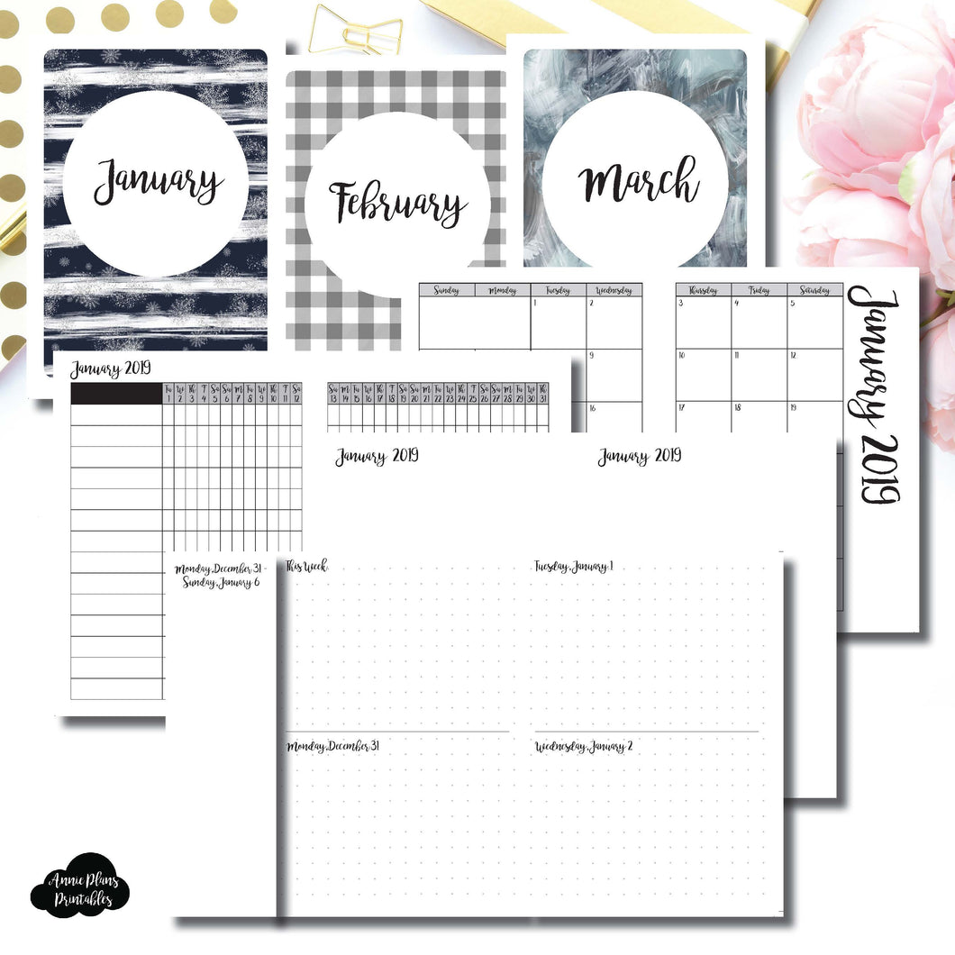 A6 TN Size | JAN - MAR 2019 | Week on 4 Pages (Monday Start) Horizontal Layout | Printable Insert ©