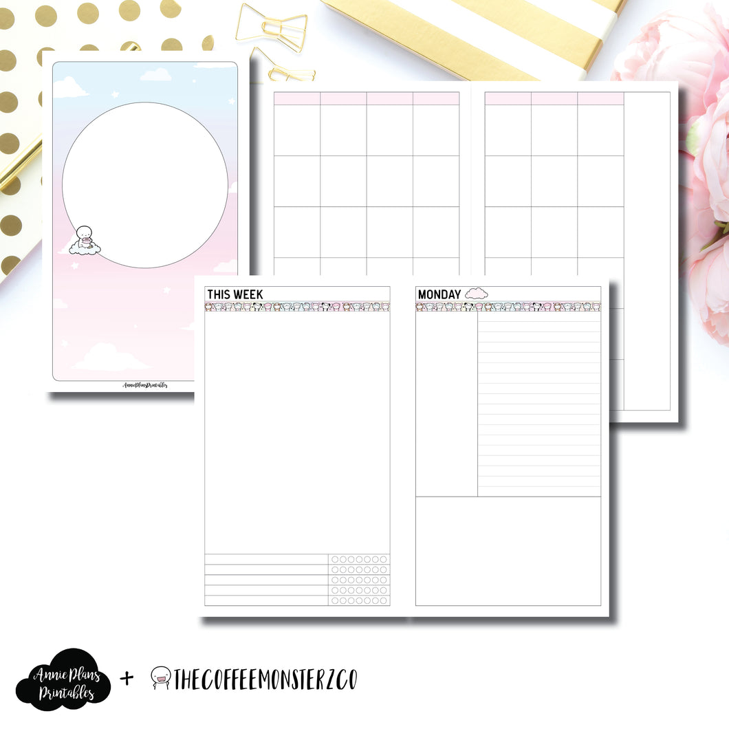 Cahier TN Size | TheCoffeeMonsterzCo Undated Daily Collaboration Printable Insert ©