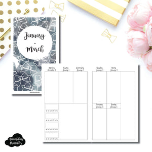 B6 Slim TN Size | JAN - MAR 2019 | BASIC Vertical Week on 2 Page (Monday Start) With Trackers Printable Insert ©